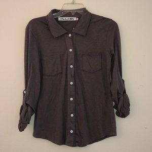Michael Stars Fitted Button Down Shirt Luxe Slab